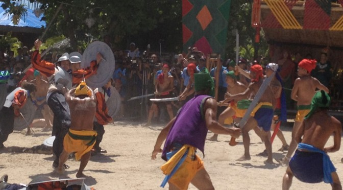 Battle of Mactan reenactment at Liberty Shrine in Barangay Mactan, Lapu-Lapu City.