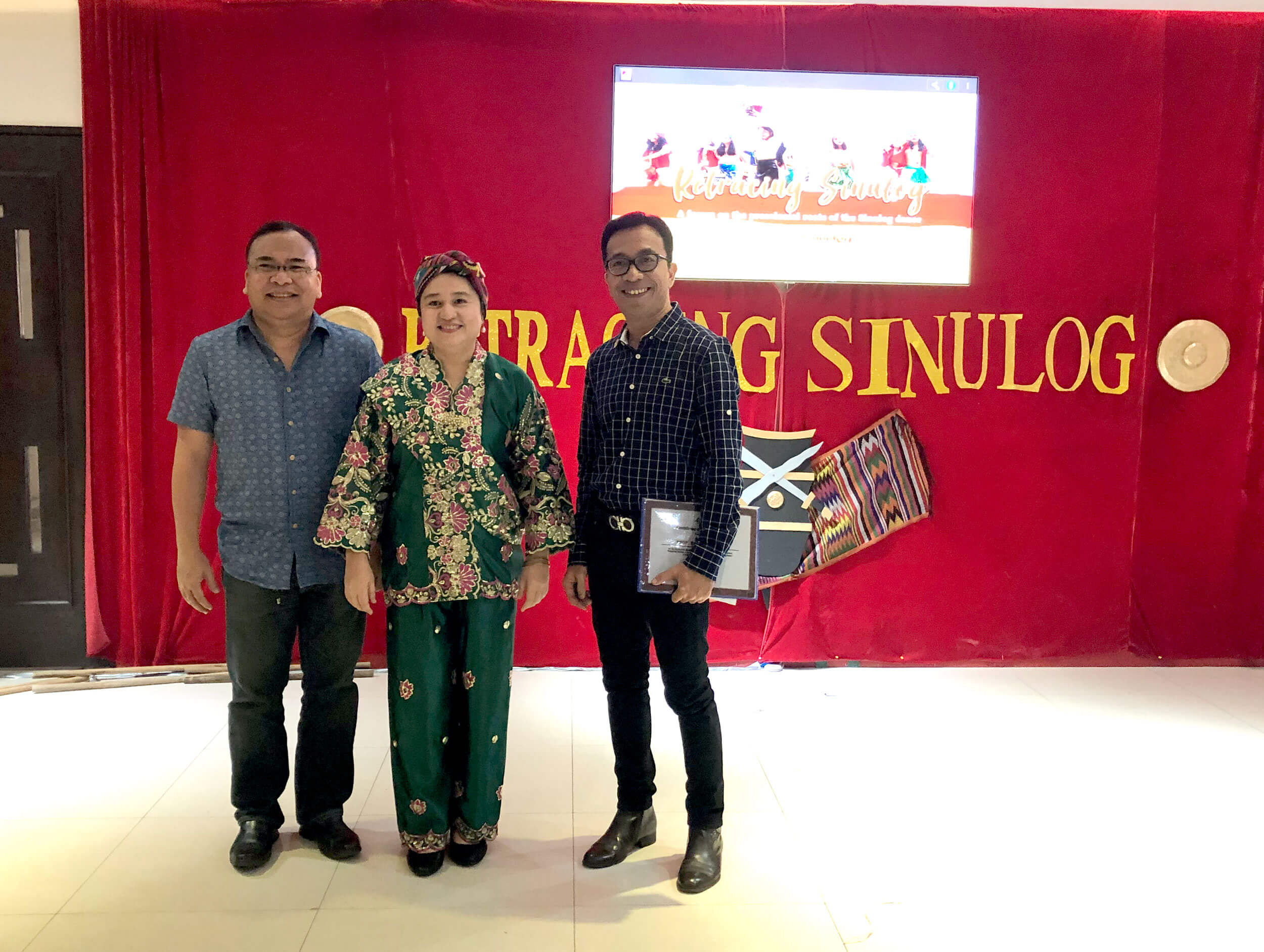 TRACING ROOTS OF SINULOG. (From left) Professor Jose Jose Eleazar Bersales, Caridad Guivelondo of Palm Grass Hotel, and Professor Darwin Absari after the forum on Sinulog held at the downtown Cebu City hotel that is known for its strong support of heritage and culture.