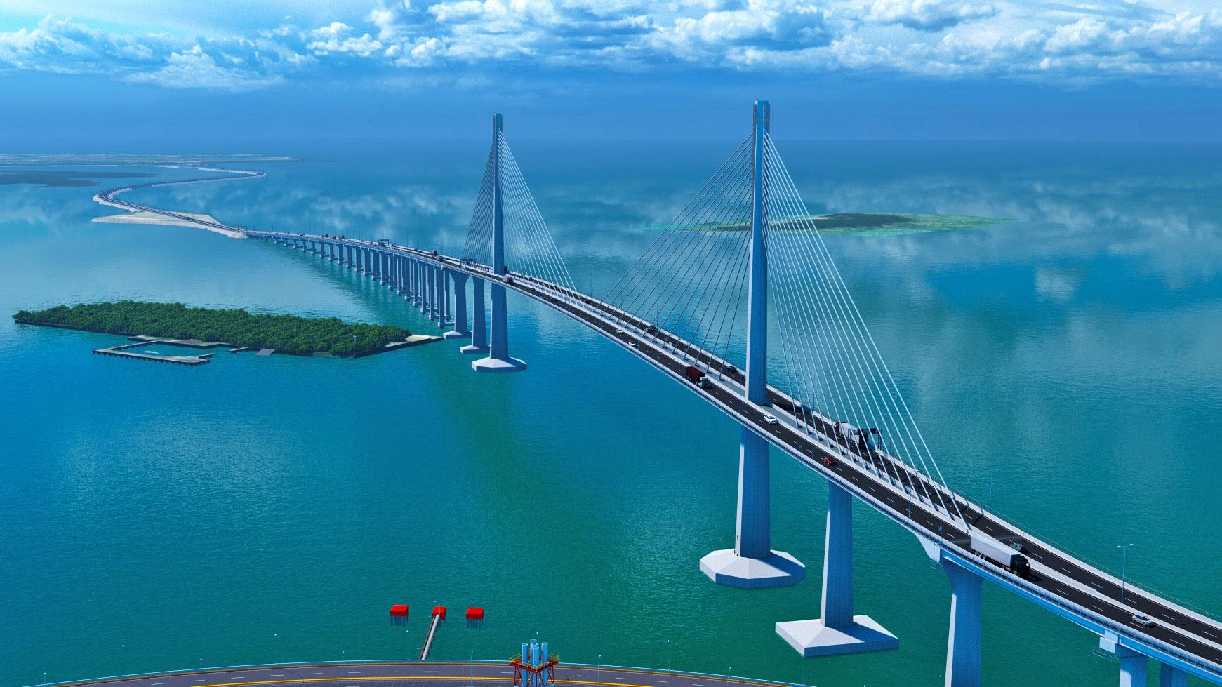 An engineering render of the Cebu-Cordova Link Expressway.